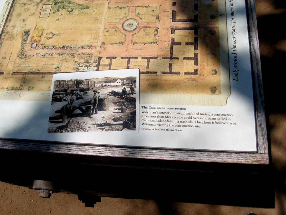 Sign showing architect Hazel Wood Waterman's design for the Casa de Estudillo includes photo of the Casa under construction.