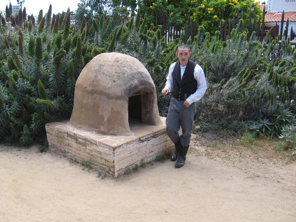 The outdoor oven was made of clay and adobe bricks. Cow manure provided fuel!