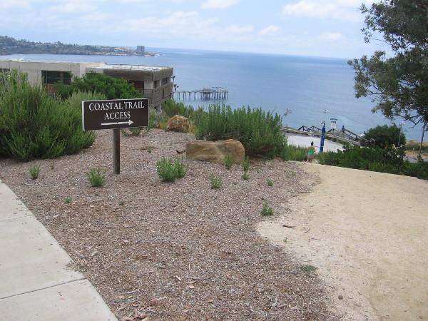 Scripps Coastal Meander Trailhead at La Jolla Shores Drive, just north of Biological Grade. A sign indicates Coastal Trail Access.