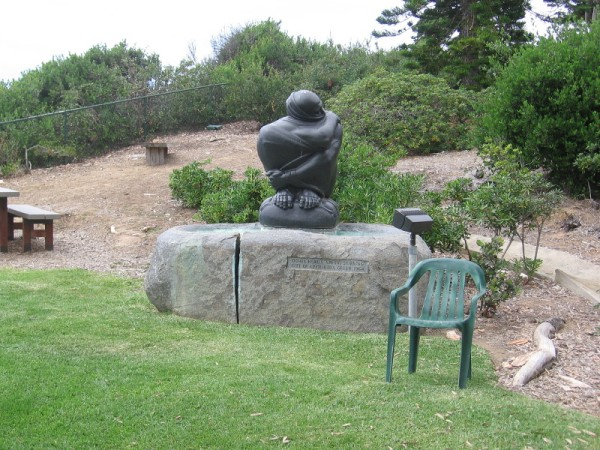 The sculpture is Spring Stirring by world famous sculptor Donal Hord, 1948, a gift of Cecil and Ida Green in 1964.