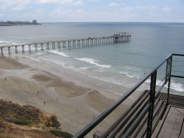 Looking southwest at Ellen Browning Scripps Memorial Pier, which is used for ocean research by the Scripps Institution of Oceanography.
