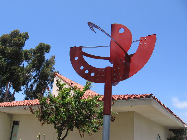 Pleasant Tree, 2003, by artist Jorge Blanco. An abstract sculpture stands near the Chula Vista Library.