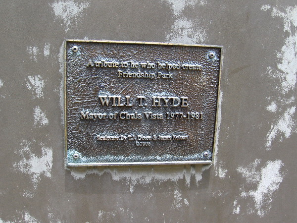 Plaque shows that Will T. Hyde was Mayor of Chula Vista from 1977 to 1981.