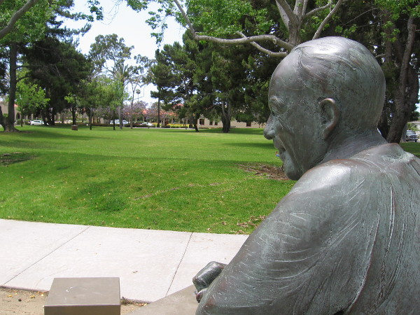 Will T. Hyde seems to gaze across the beautiful park.