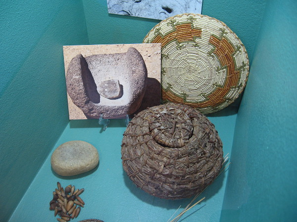 Kumeyaay artifacts include willow baskets. Bedrock mortars and metates were used to grind acorns to flour.