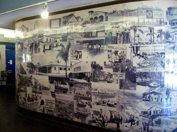 A large wall inside the front entrance of the Chula Vista Library contains many historical photos of the community.