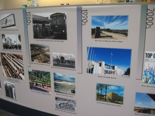 A photographic timeline wall around the perimeter of the museum's space shows notable events from Chula Vista history.