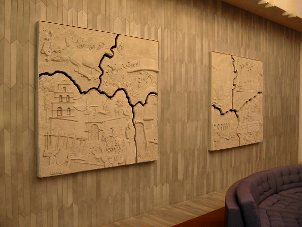 Two bas-relief sand sculpture panels by renowned artist Charles R. Faust in the lobby of 2550 Fifth Avenue in San Diego.