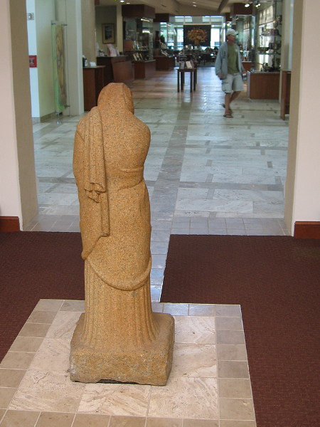 Rear view of Mourning Woman, 1966, the last sculpture by Donal Hord, which now is displayed in the Coronado Public Library.