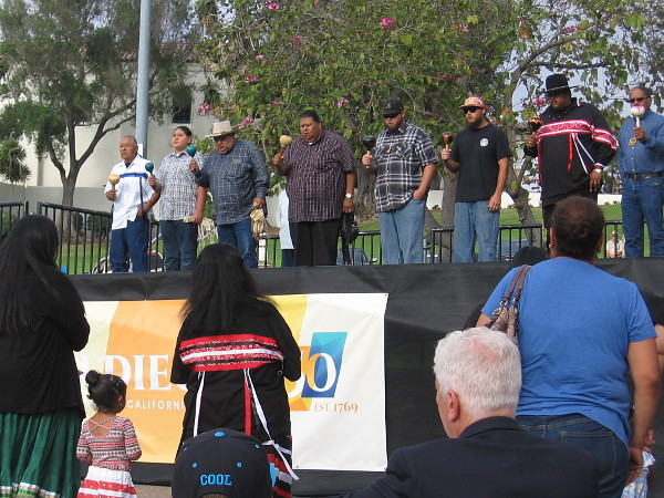 Kumeyaay bird songs are performed on stage during the San Diego 250 Civic Commemoration Ceremony.