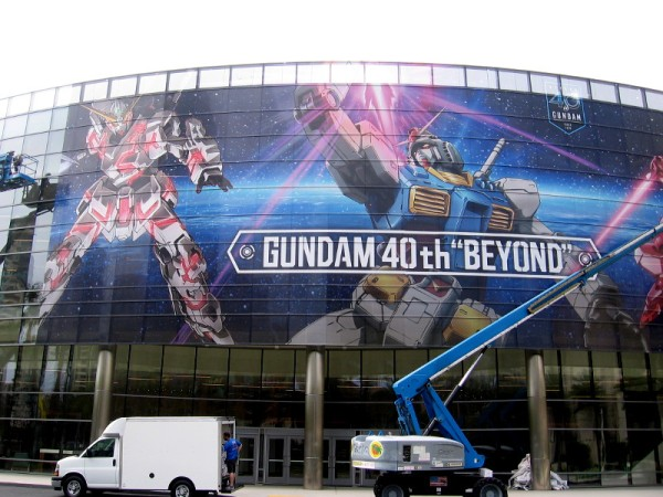 "A wrap on the Marriott Marquis' meeting space windows promotes Gundam 40th ""Beyond"" for 2019 San Diego Comic-Con."