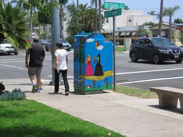 Walking past Wizard of Oz street art in Coronado. The title of this public art is Fairy Tale.