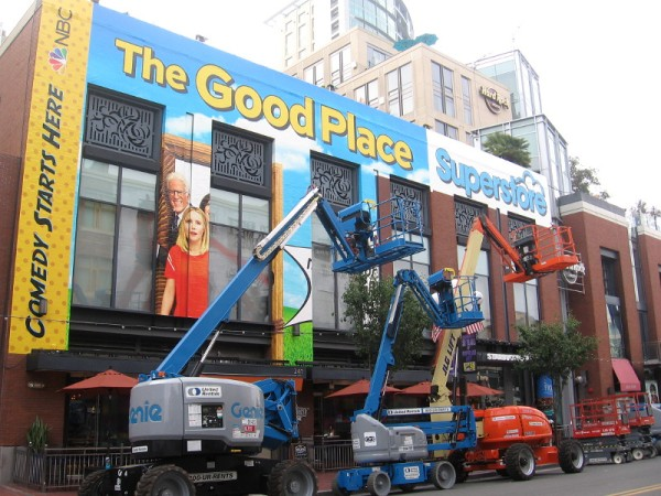 Wraps are being placed on the Hard Rock Hotel promoting NBC's The Good Place and Superstore for Comic-Con.