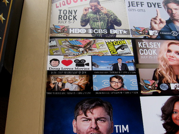 The American Comedy Co. in the Gaslamp has their 2019 Comic-Con lineup on display near the entrance.