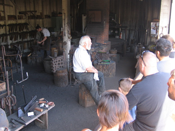 Talking about how iron was shaped in Old Town San Diego in the 19th century.