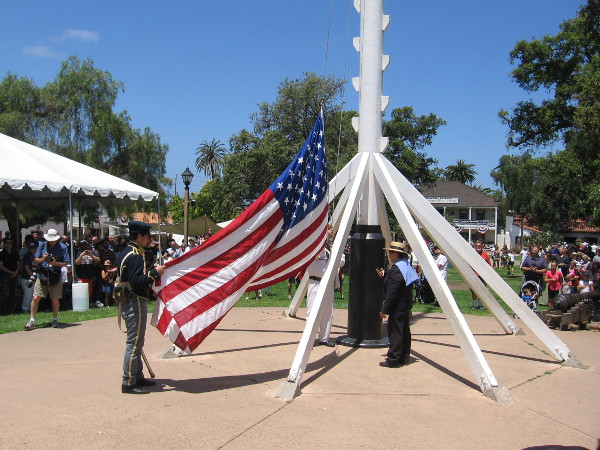 Old Glory readied to be raised on the plaza flagpole.