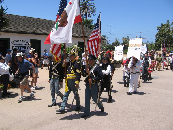 A patriotic parade for the Fourth of July commences around Old Town San Diego's historic plaza.
