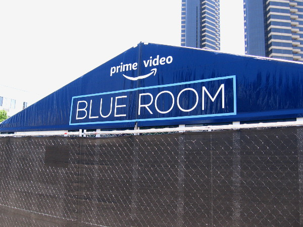 Canopy for Prime Video Blue Room appears during Amazon's offsite construction before 2019 Comic-Con.