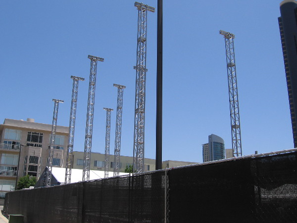 Another photo of early construction at Amazon's huge Comic-Con offsite.