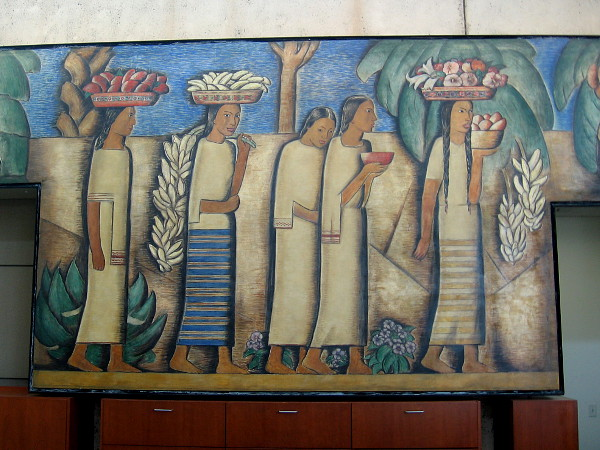 Section of fine art mural El Dia del Mercado by Alfredo Ramos Martínez inside the Coronado Library.