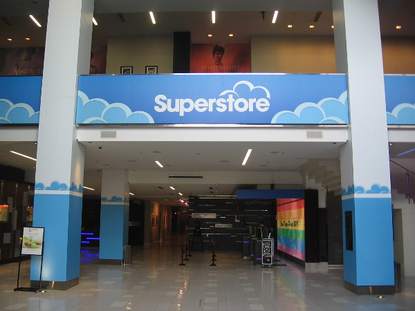 Superstore graphics now decorate the lobby of the Hard Rock Hotel in San Diego.