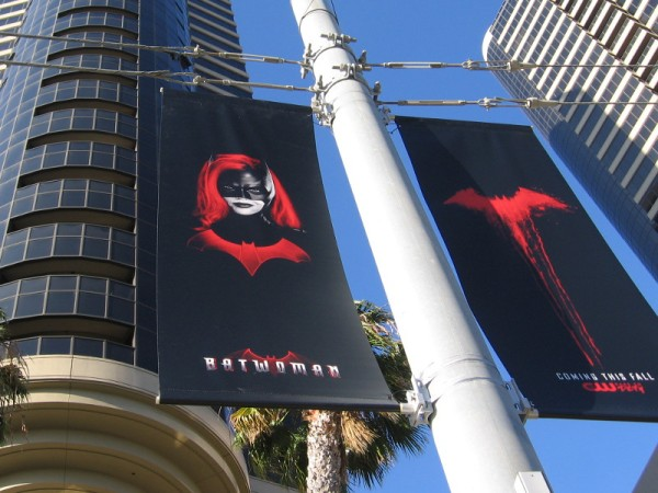 Cool banners promoting upcoming The CW television show Batwoman have been hung along MLK Promenade for 2019 Comic-Con!