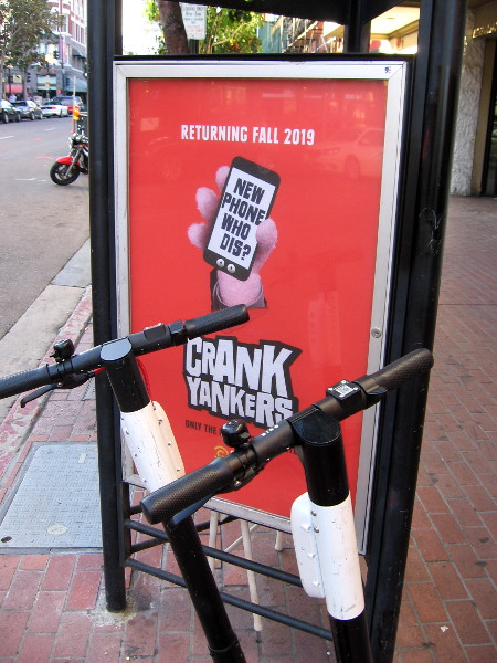 Some Crank Yankers posters have appeared in the Gaslamp Quarter.