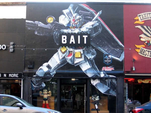 BAIT on Fifth Avenue had this awesome Gundam Universe mural painted on their storefront last night!