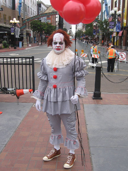 Pennywise cosplay at 2019 San Diego Comic-Con.