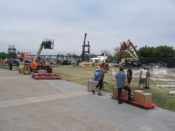 The grassy area behind the San Diego Convention Center is now buzzing with Comic-Con offsite construction.