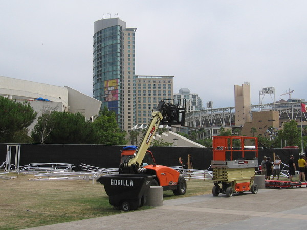 Looking across Harbor Drive, one can see the Animation Domination wrap, which is being applied on the Omni.