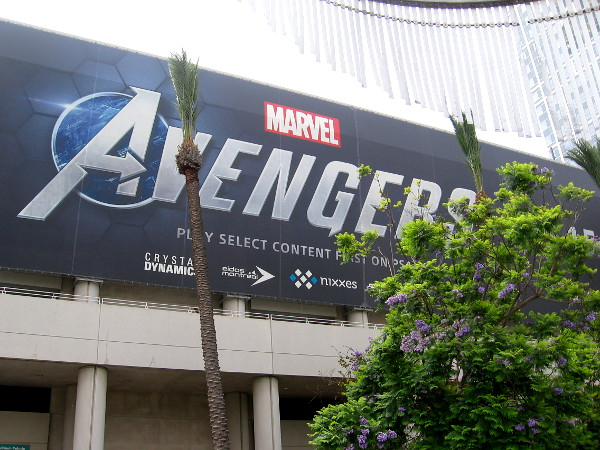 As I walked past the Hilton parking structure, I aimed my camera up at one of the big Marvel's Avengers video game banners.
