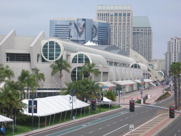 Harbor Drive and the convention center viewed from the pedestrian bridge, with four day to go until 2019 Comic-Con! Looks pretty quiet right now.
