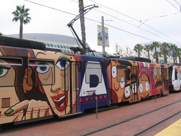 I turned my camera in time to get a photo of a FOX Animation Domination trolley wrap at the Gaslamp station.