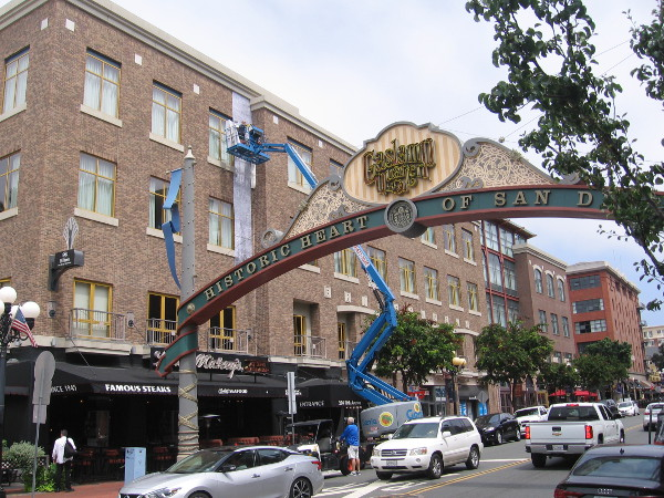A mysterious wrap was going up late this morning near the Gaslamp Quarter landmark sign.