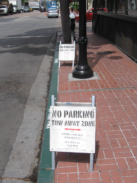 No parking signs are up in areas of the Gaslamp for Comic-Con week.
