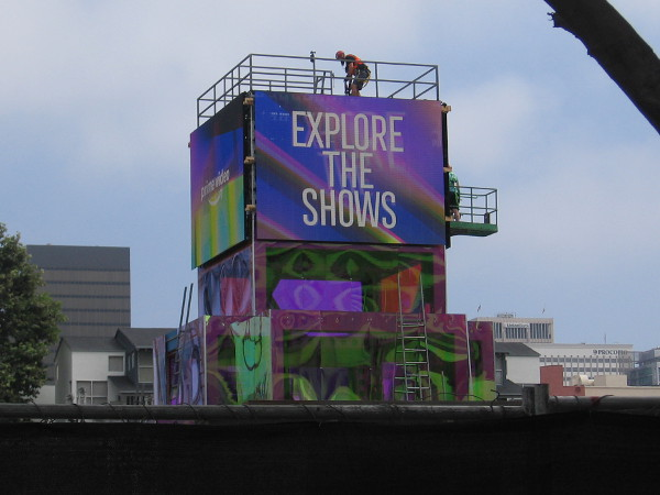 Videoboards have been installed high above Amazon's big offsite. Explore the shows...