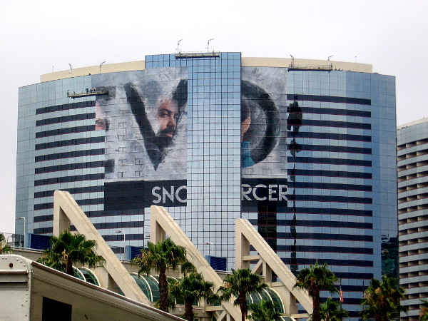 The big TBS Snowpiercer building wrap on the Marriott Marquis should soon be completed.