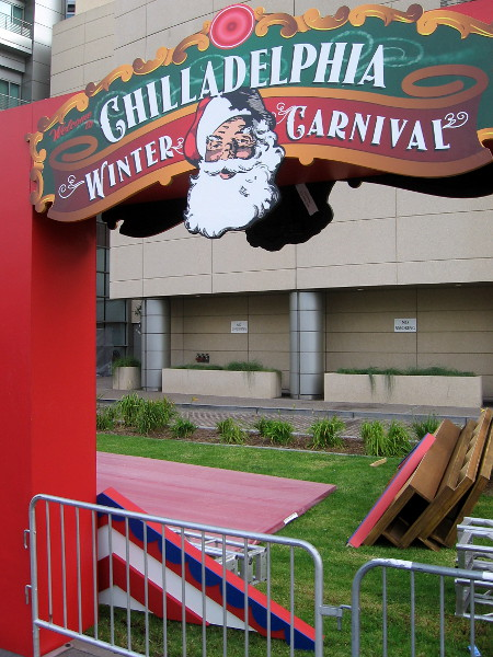 The Warner Brothers offsite has erected an archway that says Chilladelphia Winter Carnival. You might remember the scene in Shazam.