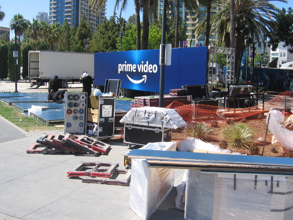 Amazon Prime Video was setting up displays along MLK Promenade.