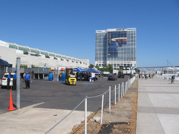 Today exhibitors were moving their stuff into the San Diego Convention Center for Comic-Con.
