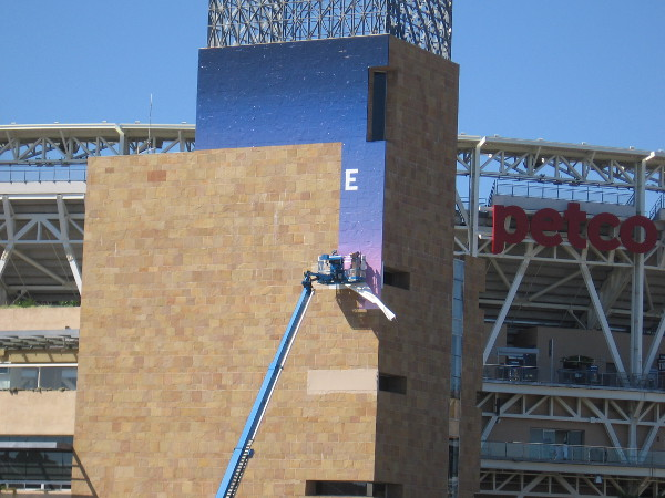 A wrap is being applied to a corner of Petco Park. I'm clueless.