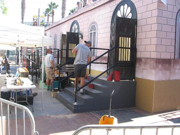 Sweeping the back steps of Brooklyn Nine-Nine.