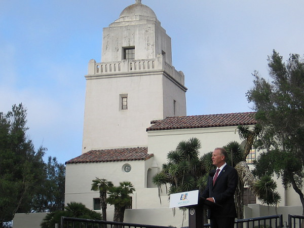 Mayor Faulconer addresses the crowd, urging unity and a positive future for all.