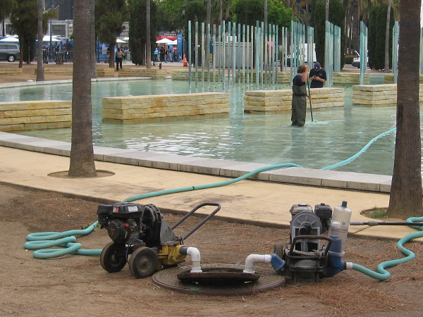 Cleaning the fountain at Childrens Park. A nice clean FOX Fan Fair will be enjoyed by one and all.