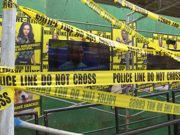 There's a lot of police line taped over video screens at Brooklyn Nine-Nine.