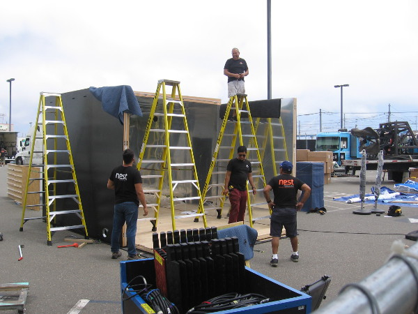 An activation being prepared at the Interactive Zone at Petco Park.