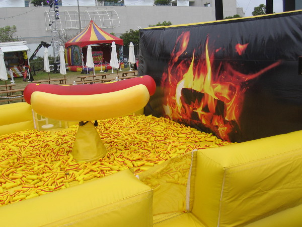 Ride this mustardy hot dog at Adult Swim on the Green!