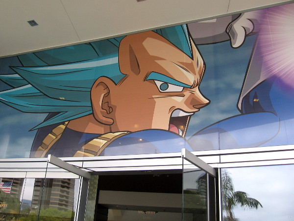 Cool Dragon Ball Z graphics greet those entering the lobby of the Marriott Marina.