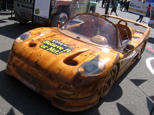 A wood-carved Ferrari F-50 took five months to create for Venice's annual Lenten carnival.
